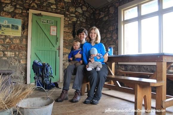 Family visit to the Sign of the Packhorse hut. Photo: http://jeffandamandagotonewzealand.wordpress.com/.