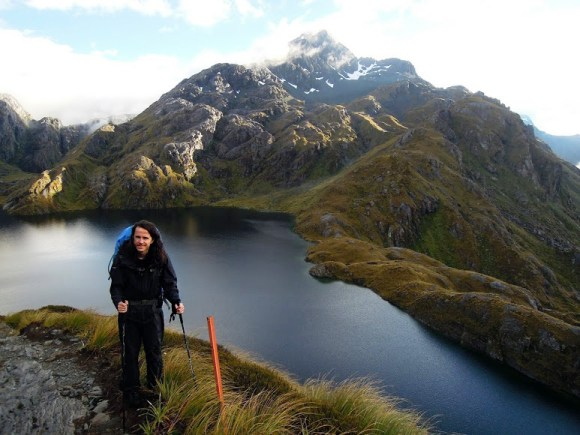 Lukasz Tracewski posing for the camera at Lake Harris in the South Island.
