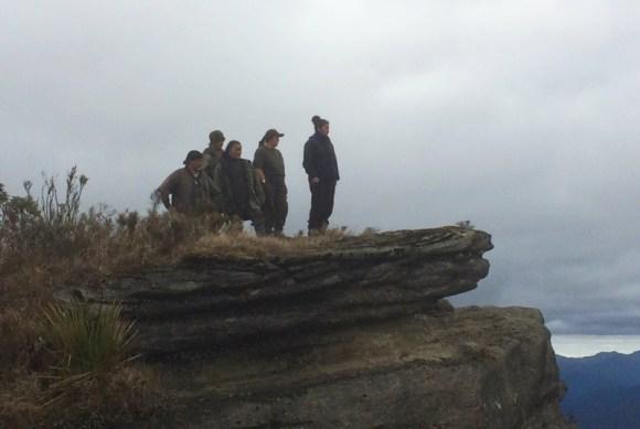 Students at the top of Maungaharuru range.