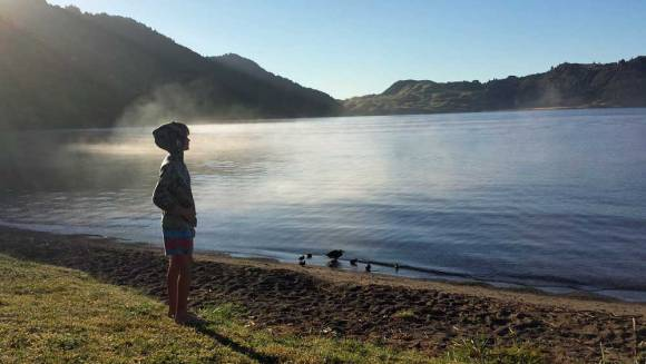 Misty morning over Lake Okareka campsite, Rotorua. Photo: Elizabeth Marenzi.