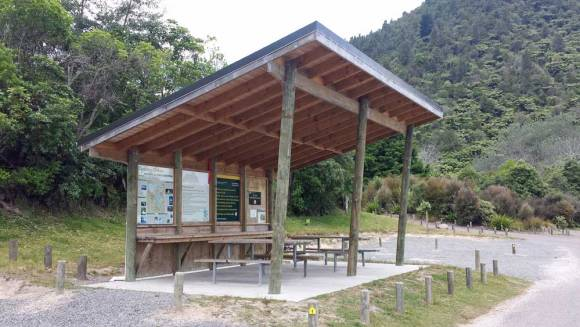 The cooking shelter at Lake Okareka Campsite, Rotorua. Photo: Elizabeth Marenzi.