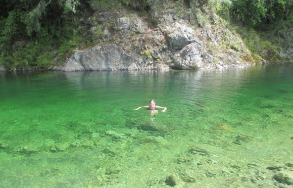 Jane swimming in the Pelorus River.