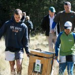 Nina Valley Restoration Trust students with boxes. Photo: Steve Attwood.