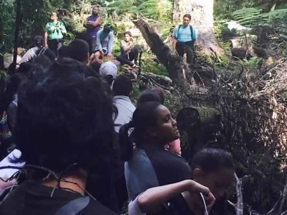 Students exploring Whirinaki Te Pua a Tane.