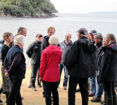 Prince Harry with Ulva Island Trustees and island owner, John Hunter.