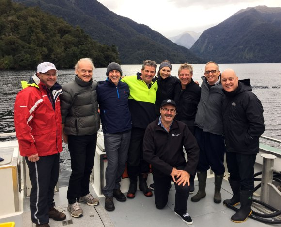 With Tourism NZ CEO Kevin Bowler, Predator Free NZ's Rob Fenwick, NEXT Foundation Chair Chris Liddell, Director – Conservation Services Southern South Island Allan Munn, Harbers Foundation-New York's Renee Harbers, NZTE Chief Executive Peter Chrisp, MBIE Chief Exec David Smol, Air New Zealand CEO Christopher Luxon.
