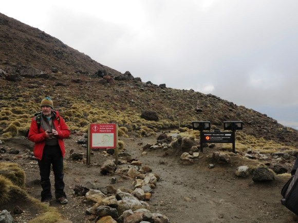 Harry Keys testing the red flashing light before entering the high volcanic risk zone.