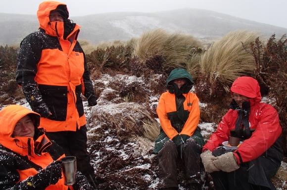 Penguin counting team take a break. Photo: Alison Ballance.