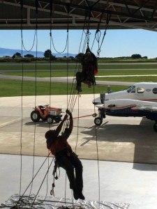 Training exercises in the hangar.