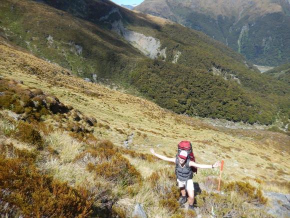 Ann climbing up to the Gillespie Pass.