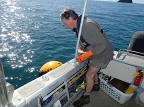 Greg Evans cleaning the marine reserve marker buoys.