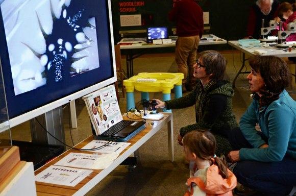 Dr. Karin Mahlfeld amplifies a microscope image to a big screen TV.