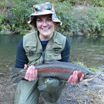 Evelien with a six pound rainbow trout.