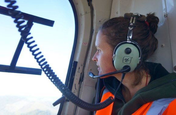 Les Judd in helicopter.