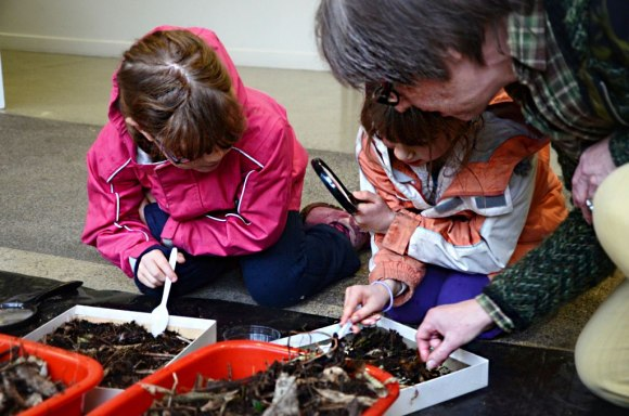 Samantha and Jessica McPherson digging through the dirt in search of insects.