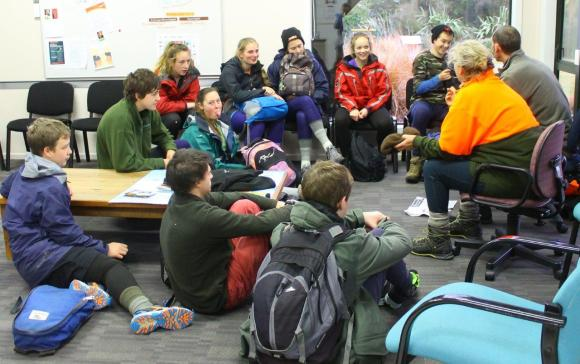 Fiordland College students being briefed by DOC rangers.