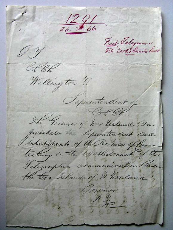 The first telegraph. CREDIT: Christchurch Regional Office, Archives New Zealand – Te Rua Mahara o te Kāwanatanga (ref: CH287, CP81, ICPS 1291/1866)