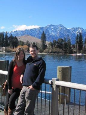 Amanda and Chris in Queenstown with the Remarkables in the background.