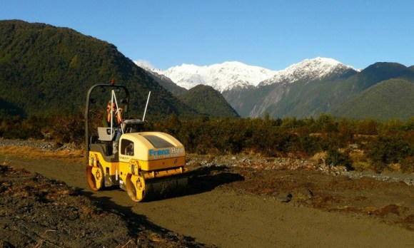 Franz Hire roller on the new track.