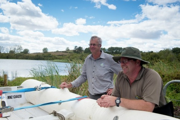 Michael Paviour and Tim Brandenburg, Fonterra's North Island Project Manager for Living Water