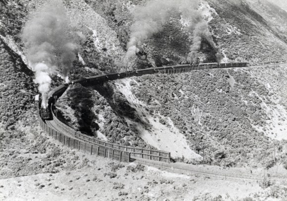 Train with four Fell locomotives rounding 'Siberia Curve'.