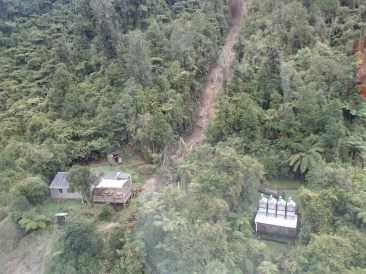 Large slip at John Coull Hut as seen from the air.