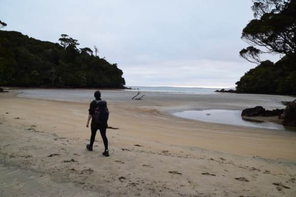 Walking along the beach on the Rakiura Track. Photo: Jennifer Ross.
