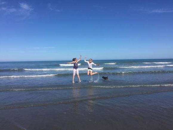 Karlene with her best friend Emmeline at Himatangi beach.