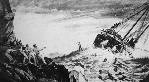 A painting showing the wreck of the SS Wairarapa. Image: Sir George Grey Special Collections | Auckland Libraries.