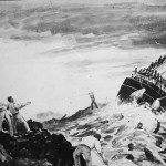 A painting showing the wreck of the SS Wairarapa.