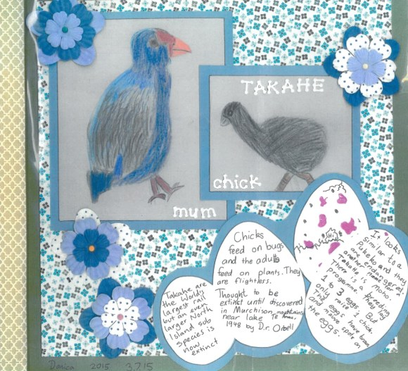 Takahē project by Danica Pearson from the Wairakei School Environment Group.