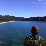 Bruce Vander lee overlooking Totaranui, Abel Tasman.