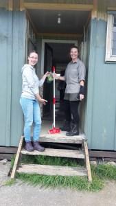 Cleaning the shearer's quarters with Carol on Motutapu Island