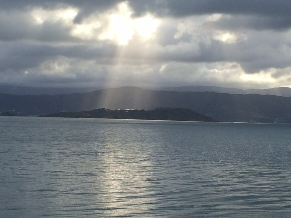Rays over Matiu/Somes Island in Wellington Harbour.