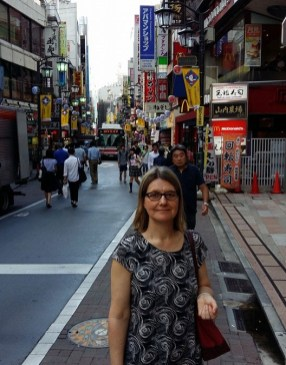 Melissa ready to hit the shops in Tokyo.
