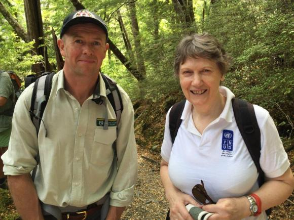 Mark Mawhinney and Helen Clark on the Routeburn.