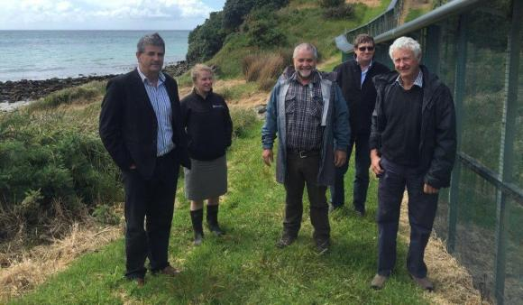 Allan Munn, DOC Operations Director (Southern South Island); Bridget Baynes, Rakiura/Stewart Island Operations Manager; John Twidle, Southland Conservation Board; Mark Murray, WorkSafe NZ Chief Inspector - Southern Region; and John Whitebead, Chair of Southland Conservation Board.