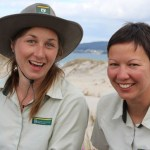 DOC fairy tern wardens Alice Fairs and Mailee Stanbur.