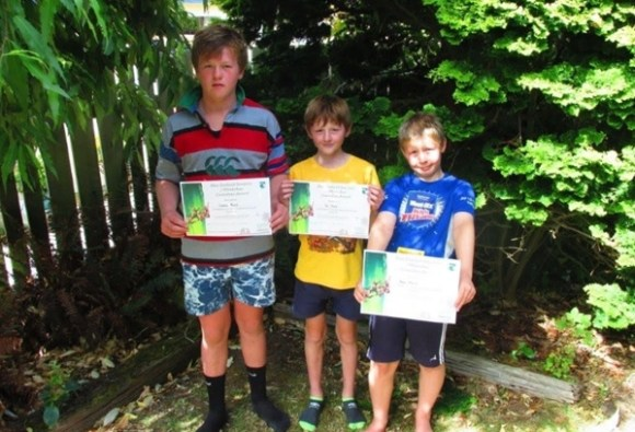 The Morris kids with their DOC certificates.