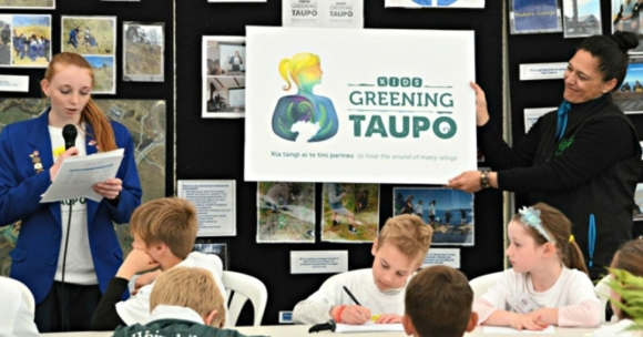 Speaking at the Kids Greening Taupo launch about the logo which I had designed.