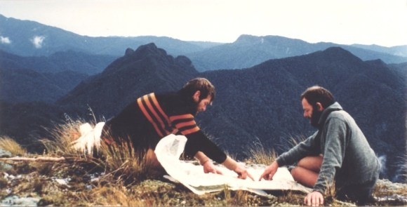 Trevor map reading with friend Kevin Dash on the Paparoa Traverse 1986.
