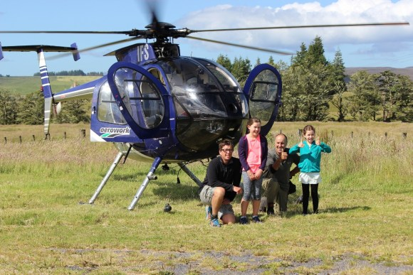 The Paterson family ready for a ride in the helicopter.