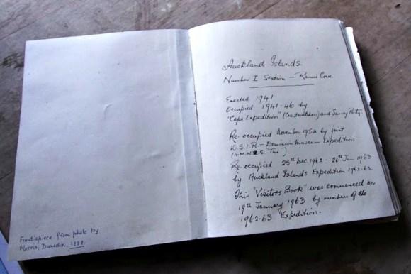 Visitors' book at Ranui Cove. Photo by Oxana Repina.