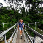 Anja walking the Heaphy Track.