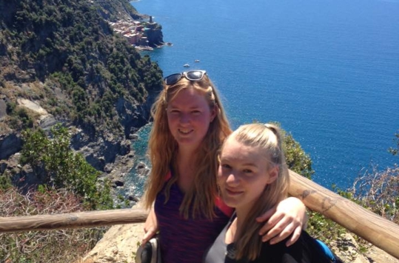 Annie and her sister in the hills of Cinque Terre, Italy.