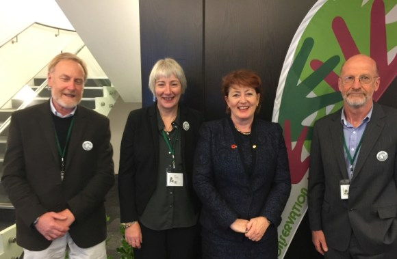 Ewan Kennedy, Sue Murray, Minister Maggie Barry, Eric Shelton at Conservation Inc2.