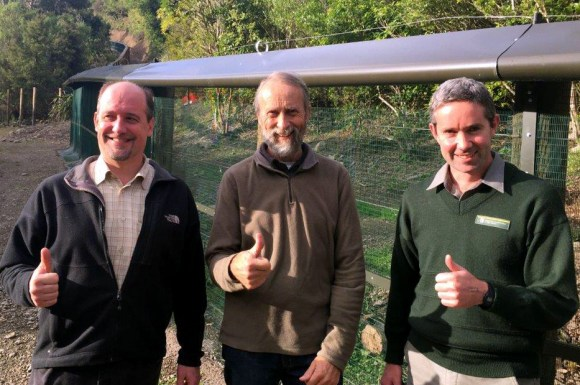At Brook Waimarama – Sanctuary General Manager Hudson Dodd, Trust Chair David Butler, DOC Operations Manager, Biodiversity (Motueka) Chris Golding.