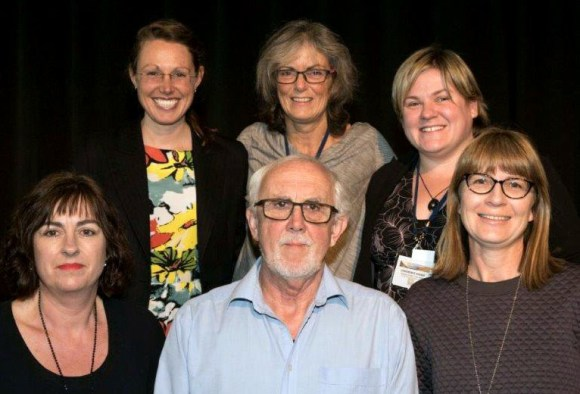 The Environmental Defence Society organised the conference. Top left to right: Madeleine Wright, Raewyn Peart, Marie Brown. Bottom left to right: Sharon Gibb, Gary Taylor, Fiona Driver.