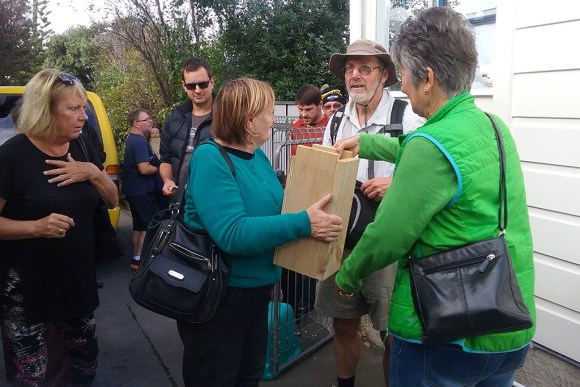 Plimmerton residents receive their traps.