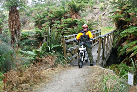 Roy Baker testing out the Ubco 2x2 on the Huka Falls Track.